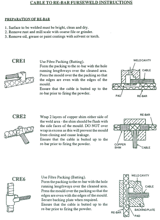 cable to rebar furse weld instructions