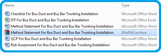 Method Statement For Bus Duct and Bus Bar Trunking Installations