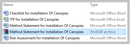 Method Statement for Installation Of Canopies