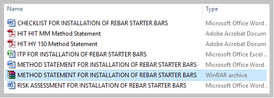 METHOD STATEMENT FOR INSTALLATION OF REBAR STARTER BARS