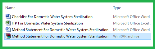 Download Method Statement For Domestic Water Piping  System & Water Tank Sterilization