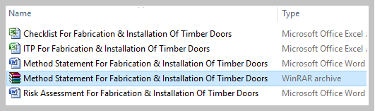 Method Statement For Fabrication & Installation Of Timber Doors