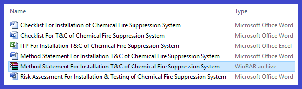 Method Statement For Installation T&C of Chemical Fire Suppression System