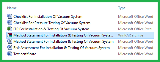 Method Statement For Installation & Testing Of Vacuum System