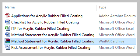 Method Statement for Acrylic Rubber Filled Coating