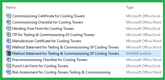 Method Statement for Testing & Commissioning Of Cooling Towers