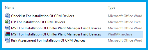MST For Installation Of Chiller Plant Manager Field Devices