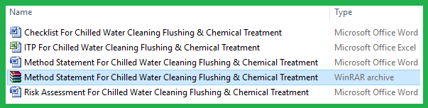 Method Statement For Chilled Water Cleaning Flushing & Chemical Treatment