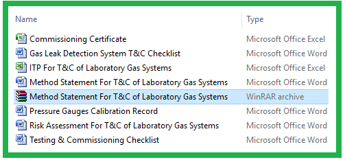 Method Statement For T&C of Laboratory Gas Systems