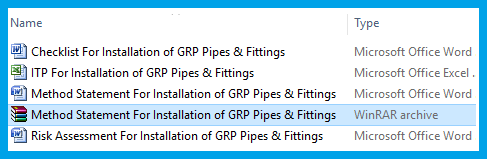 Method Statement For Installation of GRP Pipes & Fittings