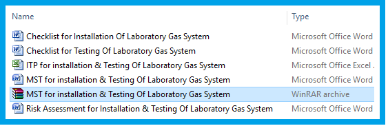 MST for installation & Testing Of Laboratory Gas System