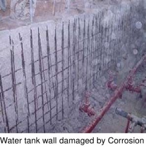 Concrete Repair of water tank wall damaged by corrosion